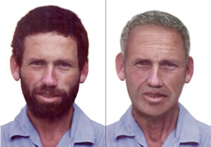 An age progressed sketch (on the right) of Boris Weisfeiler designed by the FBI, March 2006.
