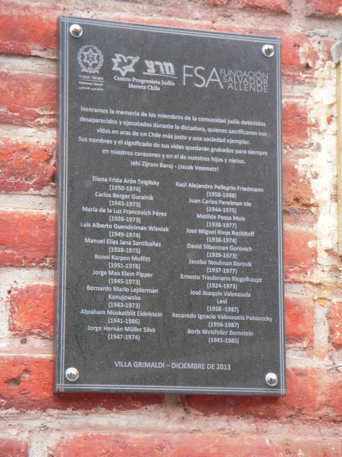 A memorial plaque to the human rights victims of Jewish origin installed on the wall of Villa Grimaldi.
