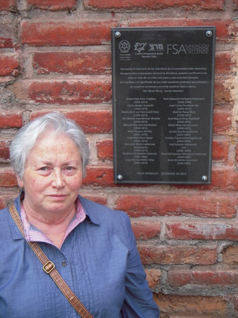 Olga Weisfeiler near memorial plaque at Villa Grimaldi, Santiago, Chile, April 2014