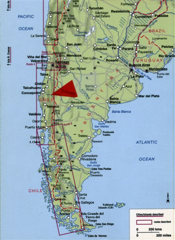 Map: South America.  Red arrow is pointed to the area of Colonia Dignidad approximate location in Chile, VIIth Region.