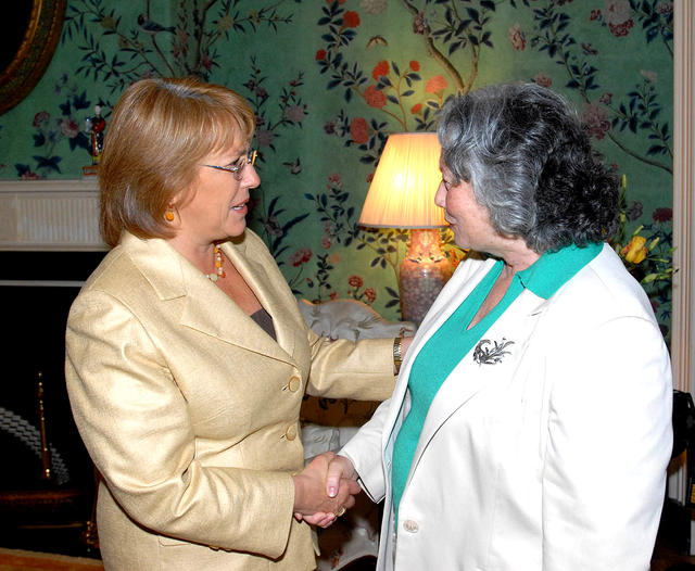 2006. US. Washington D.C., Blair House. Meeting with President of Chile Michelle Bachelet. June 9, 2006.