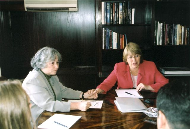 2002. Michelle Bachelet, then Minister of Defense under former President Ricardo Lagos, was briefed on the Weisfeiler case.