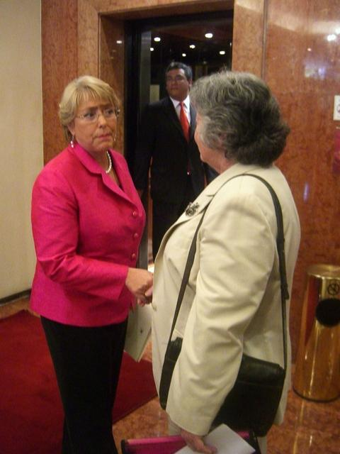 2008. President Michelle Bachelet (L) and Olga Weisfeiler (R) - accidental meeting in a hotel's lobby.