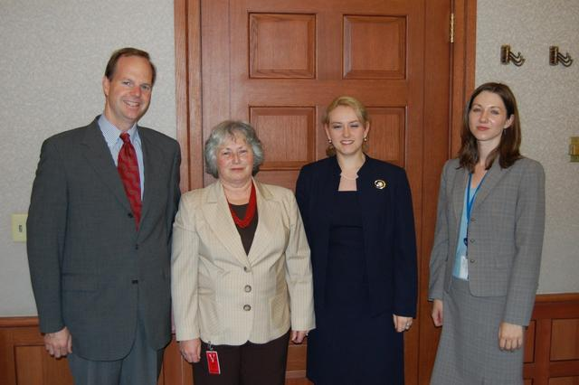2008. The US Embassy, Santiago: meeting with Ambassador Simons (L) Olga and Anna Weisfeiler(2R)