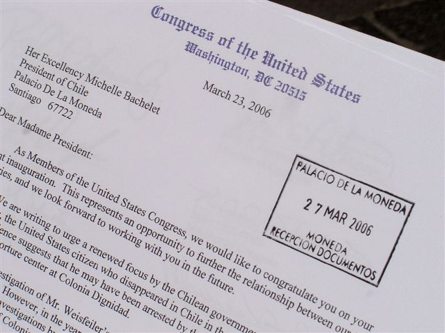 2006. The U.S. congressional letter stamped 'received' by the Chilean presidential office.