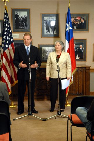 2007. The U.S. Ambassador Kelly and Olga Weisfeiler at Media Availability; the U.S. Embassy, Santiago, Chile; March 22, 2007
