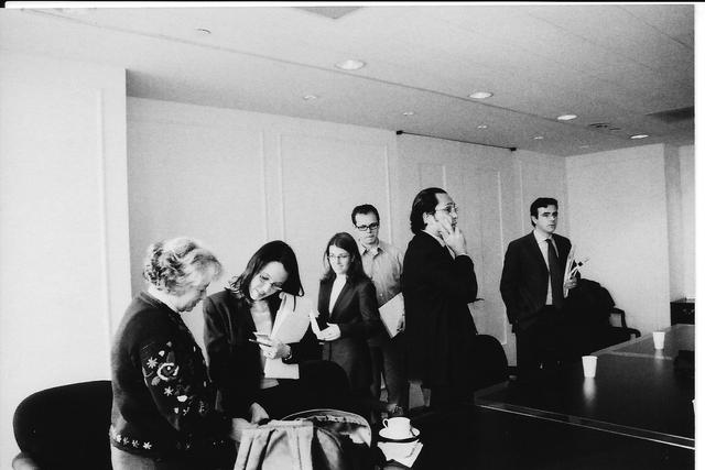 2002. New York, US. meeting with a group of Chilean and US human rights lawyers ready to work on the case on pro-bono basis.