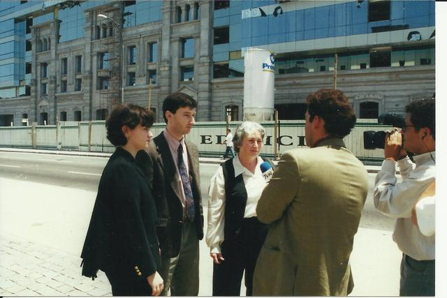 2000. Interview with newspaper reporters after the meeting with Judge Juan Guzman: Anna (L), Lev (C) and Olga (R) Weisfeiler.