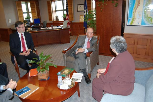 2011. Meeting with the U.S. Ambassador Alejandro D. Wolff (C): Consul William Whitaker (L), and Olga Weisfeiler (R)