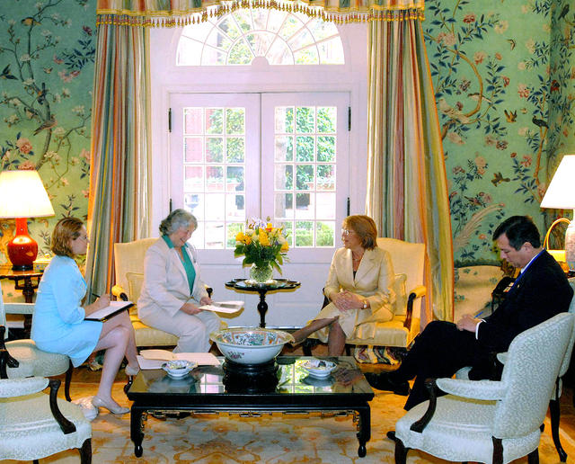 2006. US. Washington D.C., Blair House. Meeting with President of Chile, Michelle Bachelet (2R). June 9, 2006.