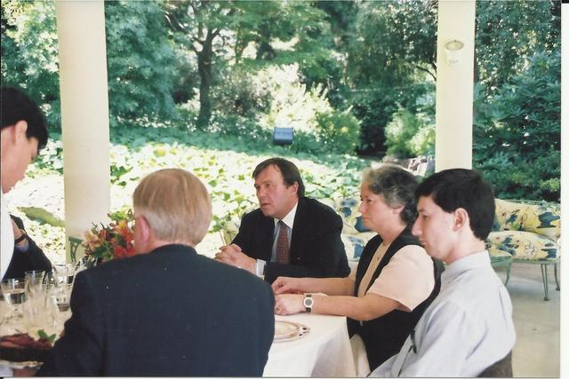 2000. At the reception  of Amb. John O'Leary residence: Amb. O'Leary (L), Olga Weisfeiler, Lev Weisfeiler (R).