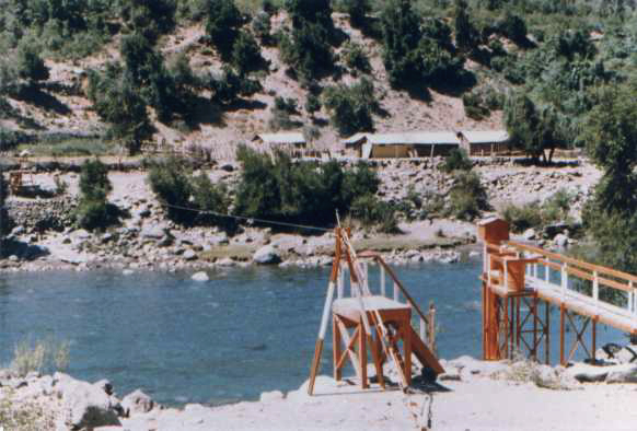 1985. A cable-car bridge over Los Sauces River (by the U.S. Consul.)