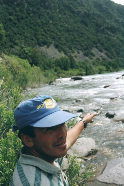 2002. Los Sauces River: the confluence with Nuble River, it's deepest and widest area.