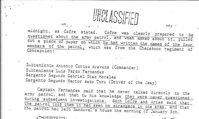 1988. The US document: an Army patrol's names.