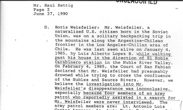 1990. The US document: Letter from the US Embassy to the Rettig Commission.